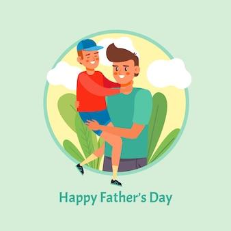 Feliz dia del padre con padre e hijo