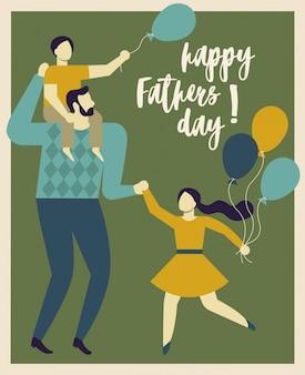 Feliz día del padre. padre sosteniendo a su hijo e hija.
