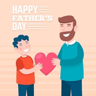 Feliz día del padre con papá e hijo