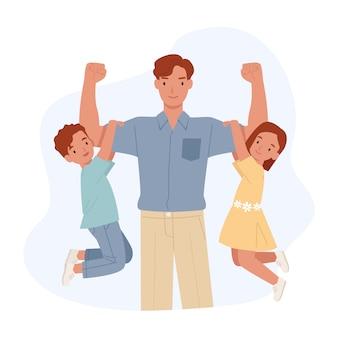 Feliz día del padre. papá fuerte con su hijo y su hija cuelgan de sus brazos. ilustración en un estilo plano