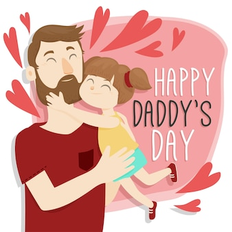 Feliz día del padre con papá y niña