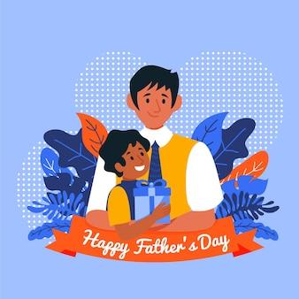 Feliz día del padre con papá y niño con regalo