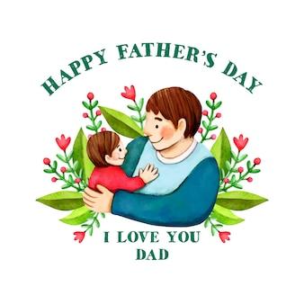 Feliz día del padre con papá y niño