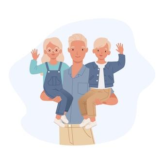 Feliz día del padre. papá con su hijo y su hija en sus brazos. ilustración en un estilo plano