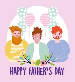 Feliz día del padre, papás globos flores celebración decoración