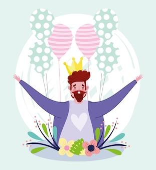 Feliz día del padre, personaje de papá con corona y globos flores
