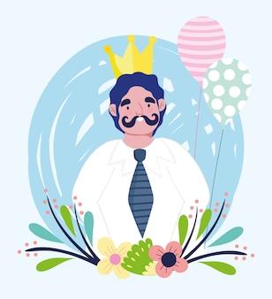 Feliz día del padre, personaje de papá con flores y globos de corona dorada