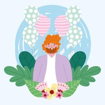 Feliz día del padre, personaje de papá con globos y flores.