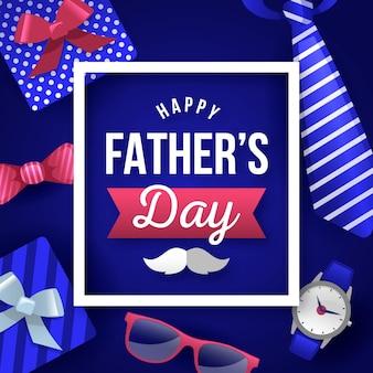 Feliz día del padre con regalos y bigote