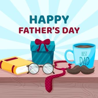 Feliz dia del padre con regalos y corbata