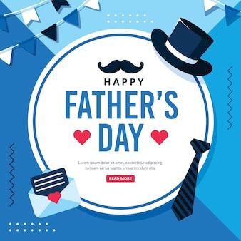Feliz dia del padre con sombrero y corbata