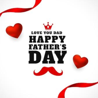 Feliz día del padre tarjeta de felicitación de corazón y cinta
