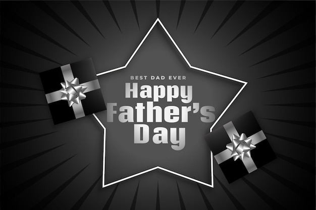 Feliz día del padre tarjeta de felicitación negra con cajas de regalo