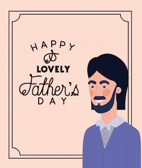 Feliz día del padre texto y hombre de dibujos animados