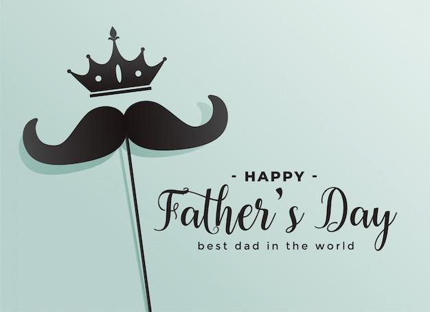 Feliz día de padres corona y fondo de bigote