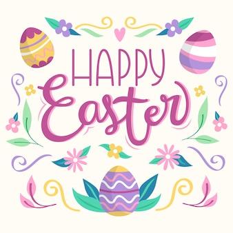 Feliz día de pascua banner con huevos multicolores