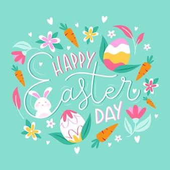 Feliz día de pascua banner con zanahorias y huevos