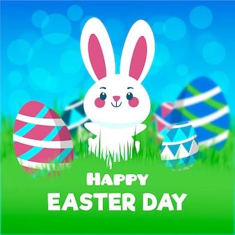 Feliz día de pascua borrosa con conejito y huevos