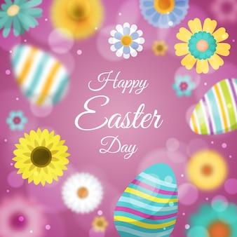 Feliz día de pascua borrosa con huevos