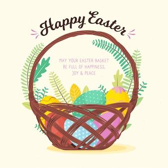 Feliz día de pascua con canasta de huevos coloridos