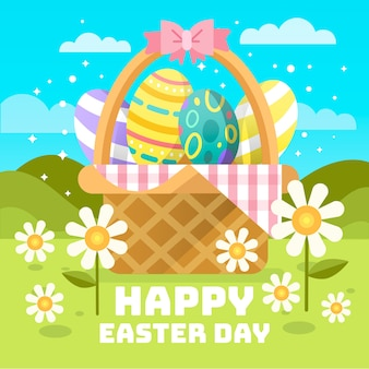 Feliz día de pascua con canasta y huevos