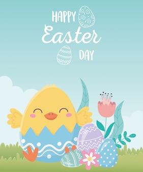 Feliz día de pascua, cáscara de huevo de gallina con flores huevos en pasto