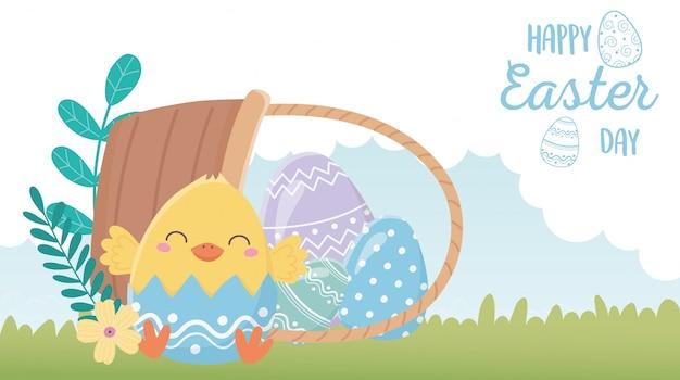 Feliz día de pascua, cáscara de huevo de pollo flores huevos en cesto de hierba