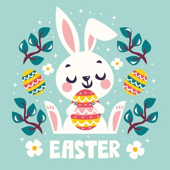 Feliz día de pascua con conejito con huevo colorido