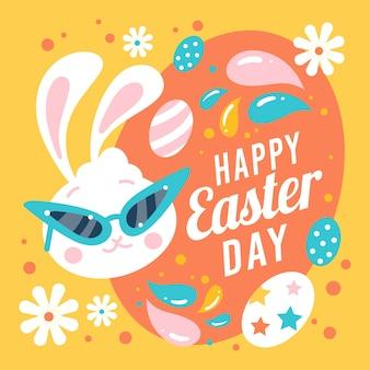 Feliz día de pascua con conejito y huevos