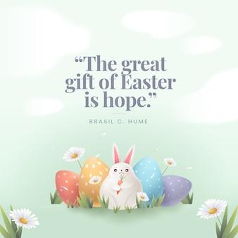 Feliz día de pascua conejitos y huevos