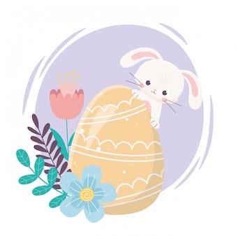 Feliz día de pascua, conejo amarillo huevo flores follaje hojas decoración