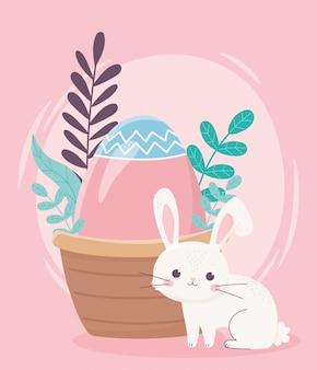 Feliz día de pascua, conejo con canasta de hojas de follaje de huevo