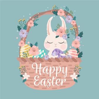Feliz día de pascua con conejo en una canasta