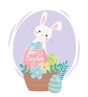 Feliz día de pascua, conejo huevos flores hojas canasta