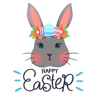 Feliz día de pascua con conejo y huevos