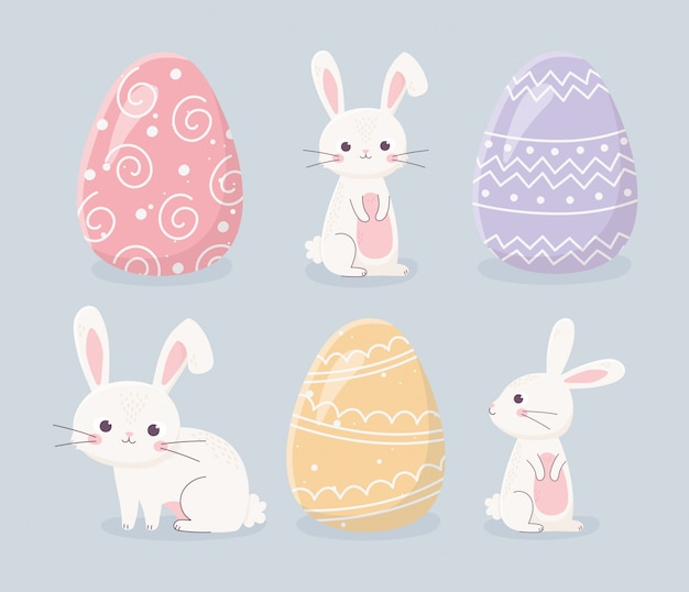 Feliz día de pascua conejos y huevos iconos de celebración