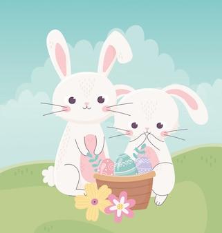 Feliz día de pascua, conejos nasket con huevos decorativos flores hierba ilustración vectorial