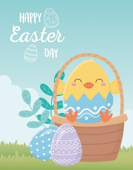 Feliz día de pascua, decoración de huevos de gallina en cáscara de huevo