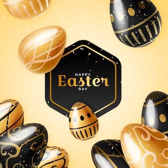 Feliz día de pascua dorado con huevos negros y dorados
