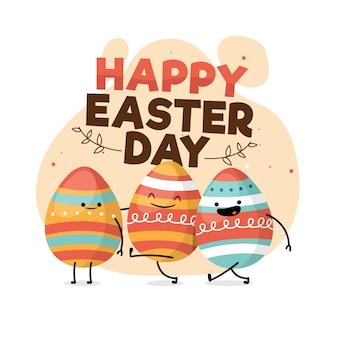 Feliz día de pascua estilo plano con huevos sonrientes