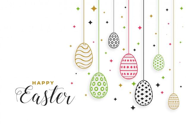 Feliz día de pascua festival fondo con decoración de huevos