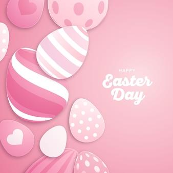 Feliz día de pascua fondo de pantalla de diseño plano con huevos