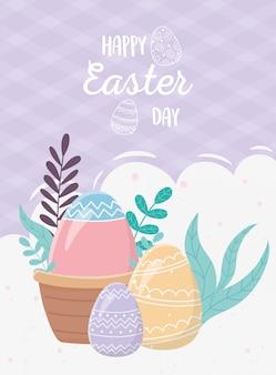 Feliz día de pascua, huevo en canasta huevos decoración follaje