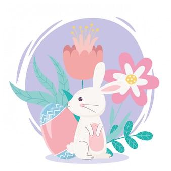 Feliz día de pascua, huevo de conejo blanco flores folaige hojas decoración
