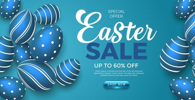 Feliz día de pascua huevos azules con banner de oferta de venta