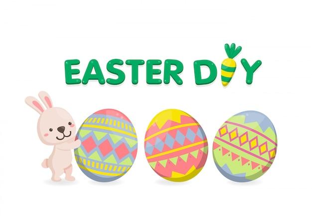 Feliz día de pascua con huevos coloridos sobre fondo blanco