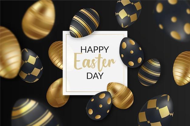 Feliz día de pascua huevos dorados y negros sobre fondo oscuro