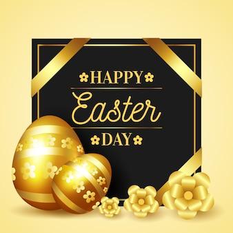 Feliz día de pascua huevos de oro y cintas