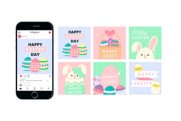 Feliz día de pascua instagram post con teléfono móvil