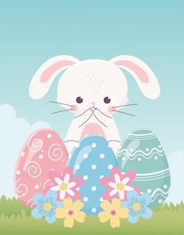 Feliz día de pascua, lindo conejo delicados huevos flores hierba